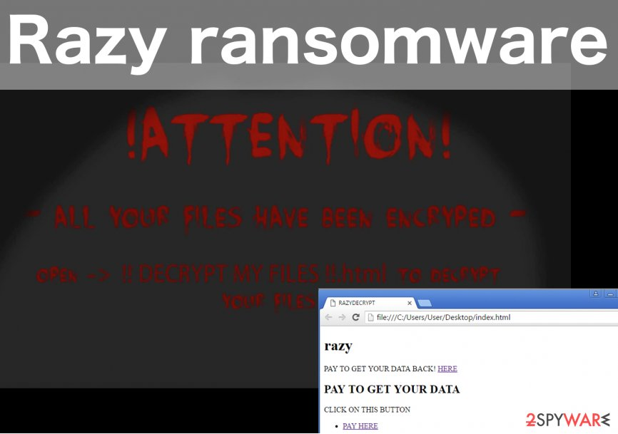 An illustration of Razy ransomware virus