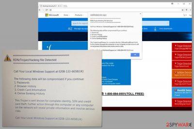 """Screenshot of """"RDN/Trojan/Hacking File Detected"""" scam"""