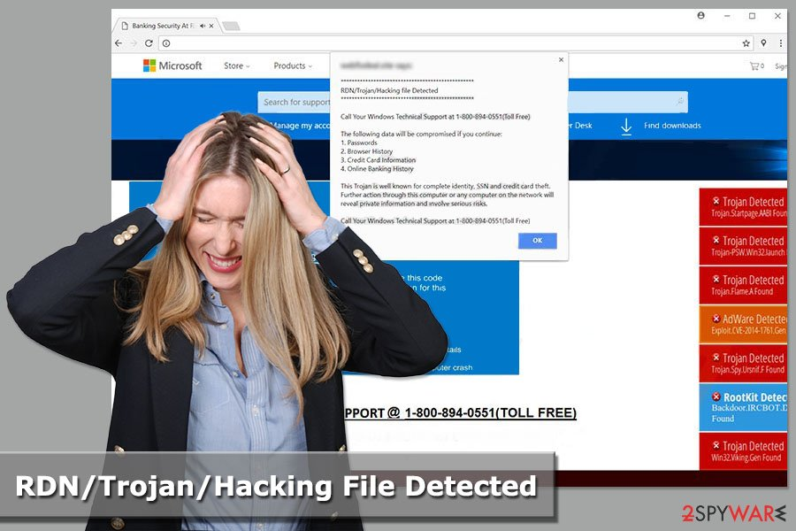 "The image of ""RDN/Trojan/Hacking File Detected"" virus"