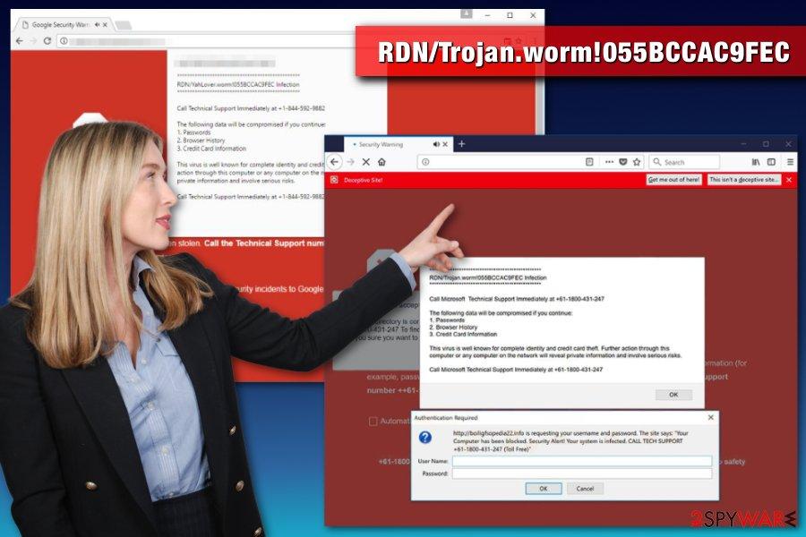 RDN/Trojan.worm!055BCCAC9FEC virus example