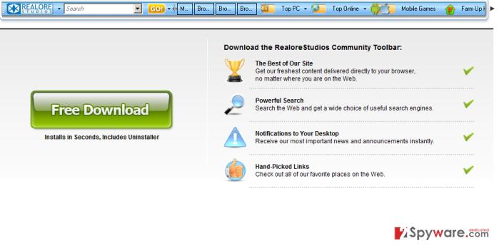 Realore Studios Toolbar snapshot