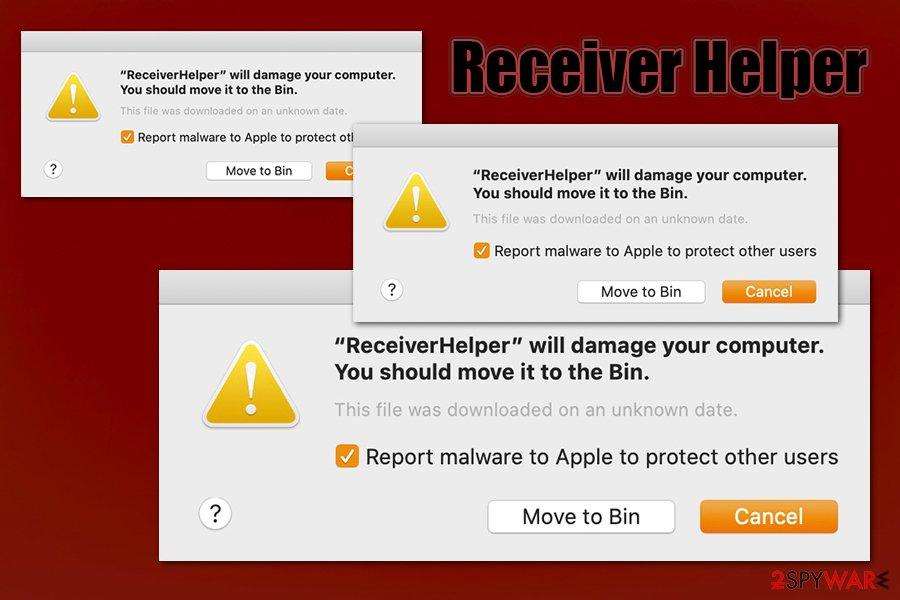 Receiver Helper pop-up
