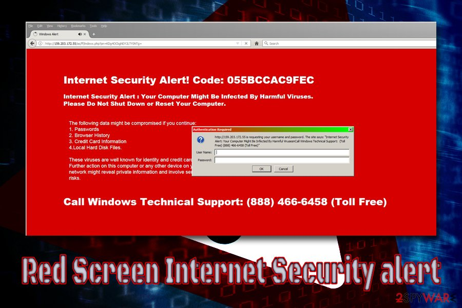 Red Screen Internet Security alert