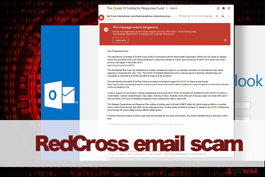 RedCross email scam printscreen