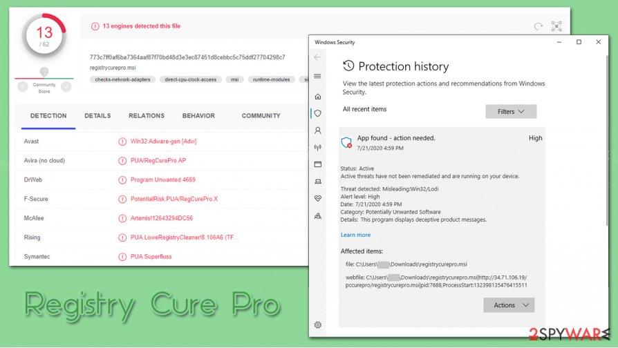 Registry Cure Pro detectionRegistry Cure Pro