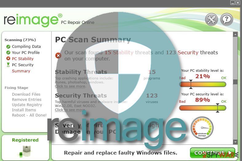 Snapshot of Reimage software