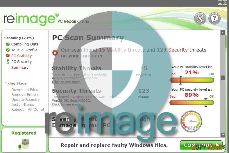 Snapshot of Reimage software