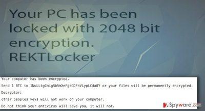 REKTLocker ransomware virus and its ransom note