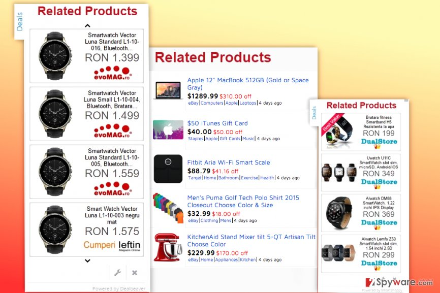 Examples of Related Products ads