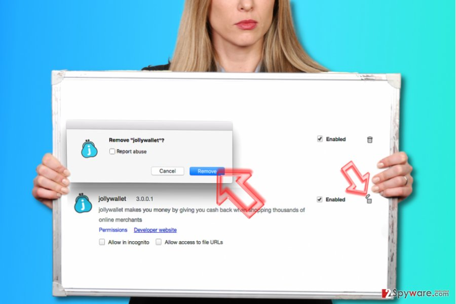 How to remove Jollywallet from Chrome