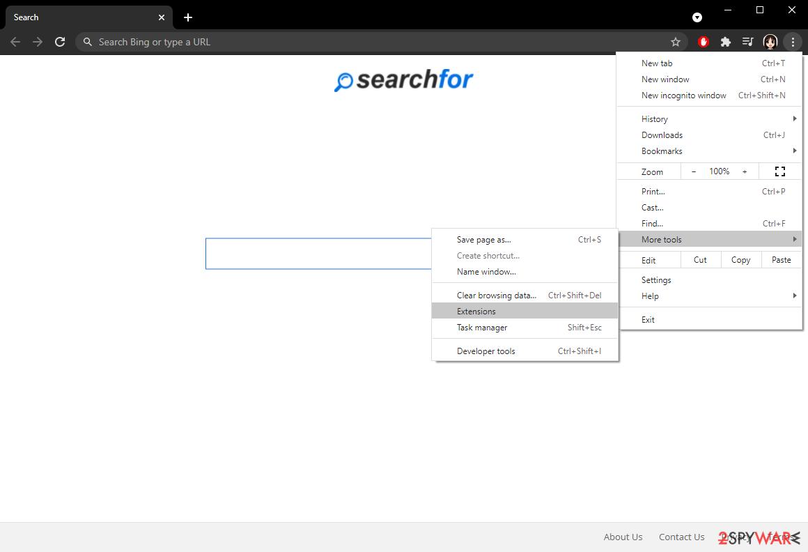 SearchFor Chrome Settings