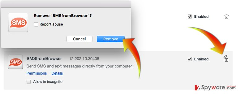 How to remove SMSfromBrowser from Chrome
