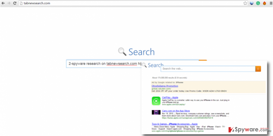 TabNewSearch.com hijacker provides fake search engine