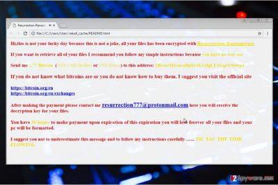 Screenshot of Resurrection ransomware note