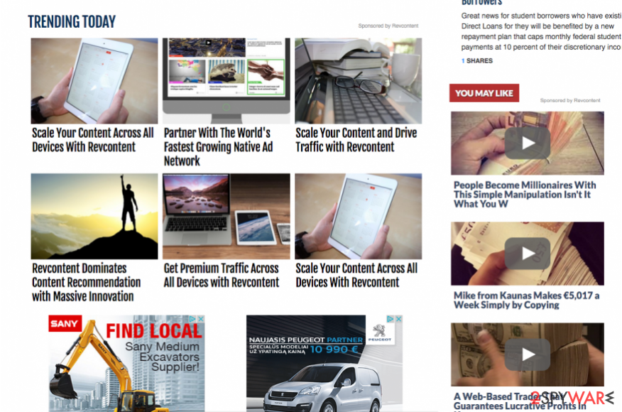 RevContent ads on third party websites