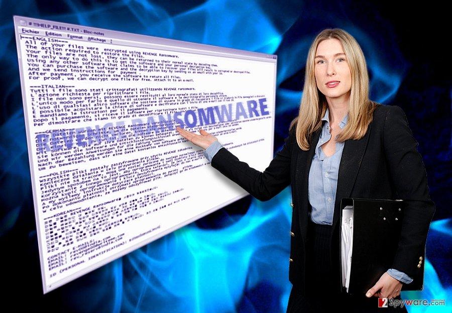 The screenshot of Revenge ransomware