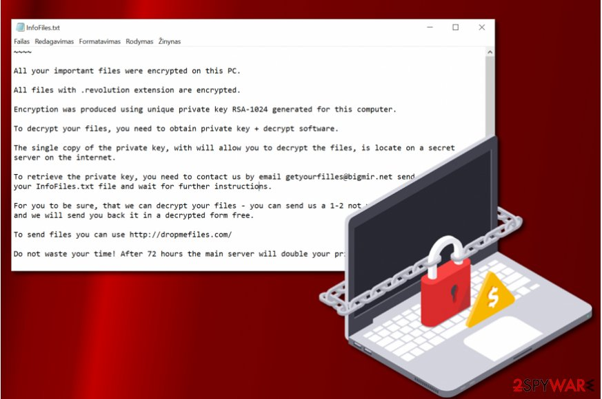Revolution file extension ransomware note