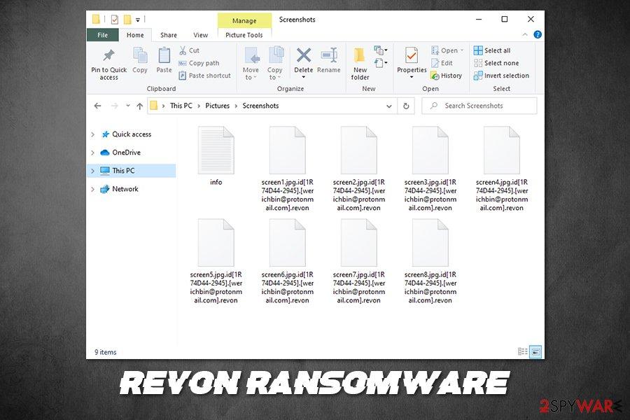 Revon ransomware locked files