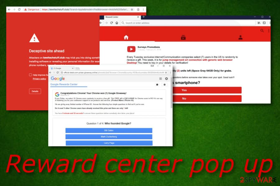 Reward center pop up
