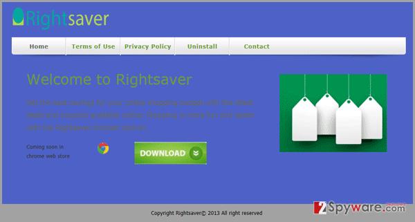 RightSaver adware snapshot