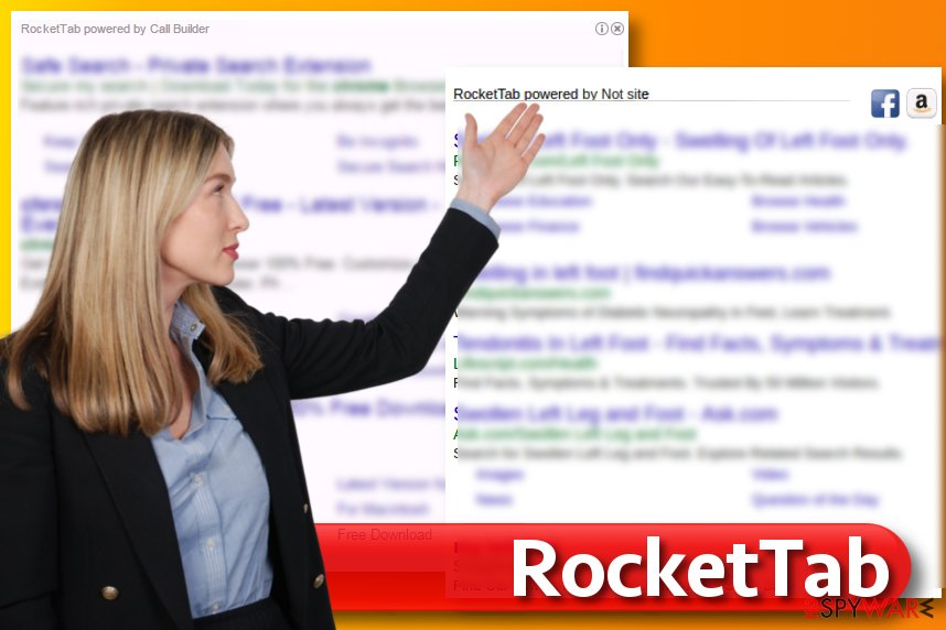 RocketTab virus in search results