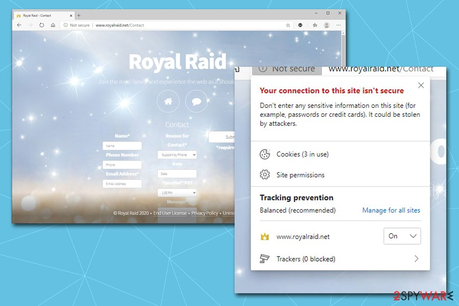 Royal Raid insecure connection
