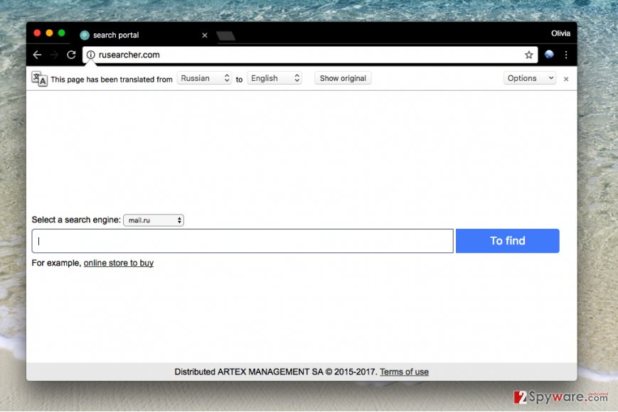 Rusearcher.com virus
