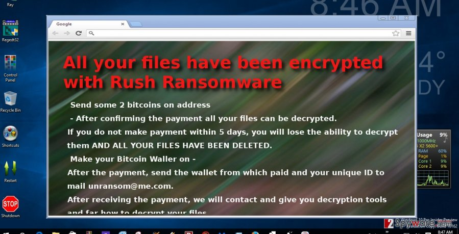 The example of Rush ransomware