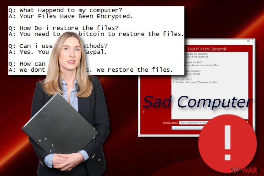 Sad Computer cyber threat