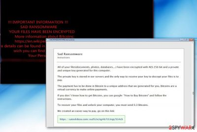 The picture illustrating Sad ransomware note