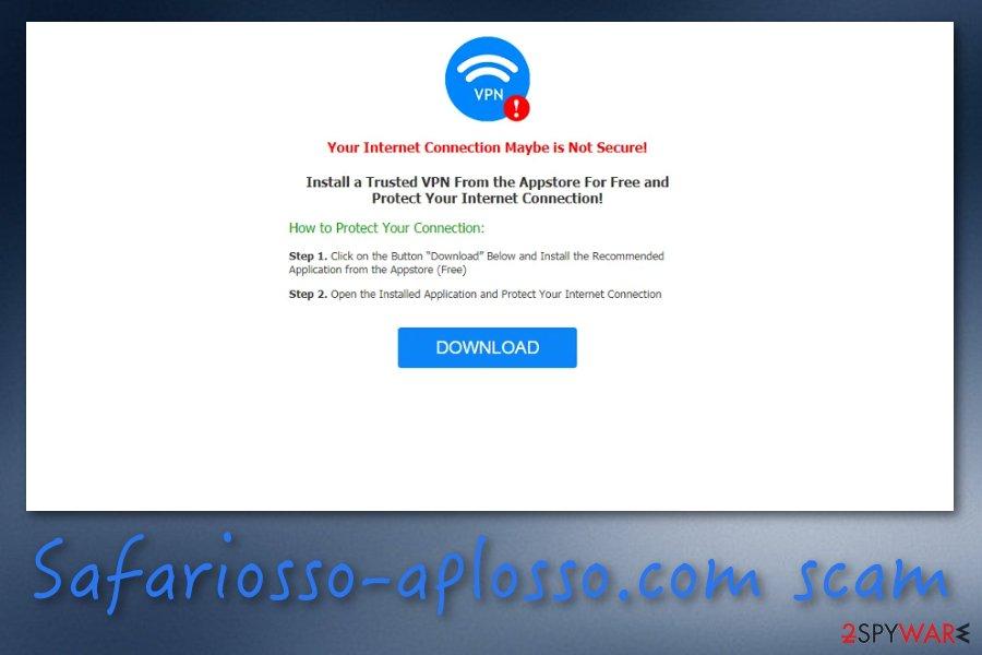 Safariosso-aplosso.com pop-up scam