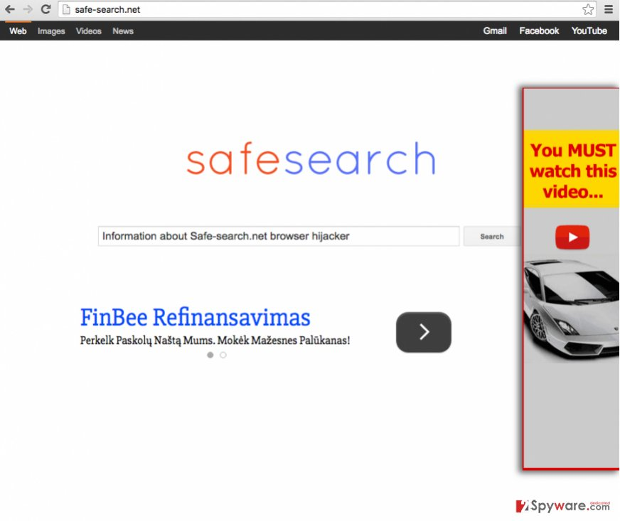 Safe-search.net browser hijacker changes homepage to this website