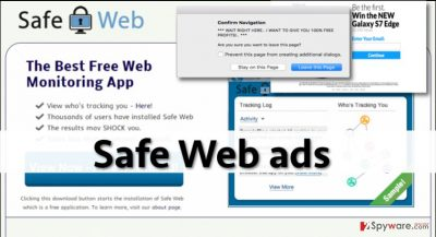 Image showing Safe Web download page and examples of ads