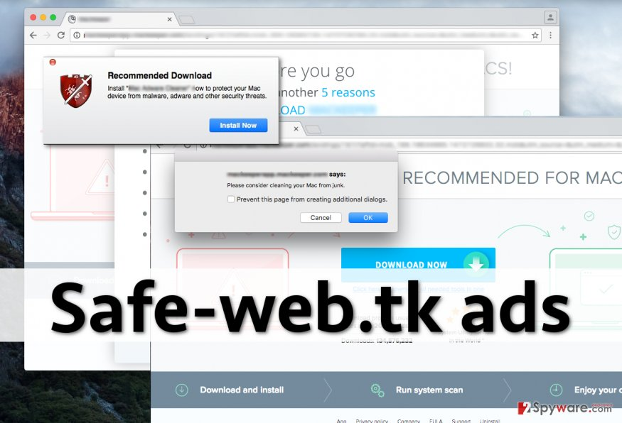 Variety of Safe-web.tk ads