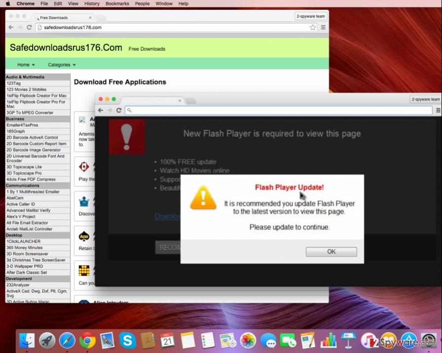 Safedownloadsrus176.com adware displaying ads
