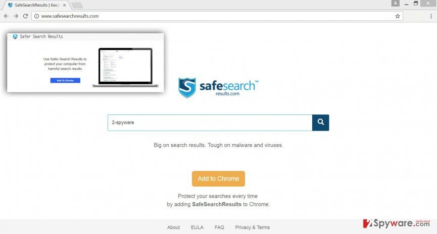 The screenshot of the SaferSearchResults.com virus