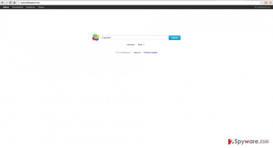 Screenshot of the SafeSearch.net website