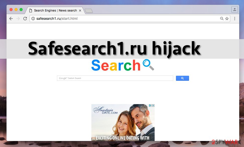 Screenshot of Safesearch1.ru redirect virus