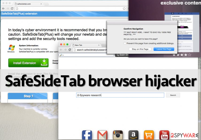 SafeSideTab browser hijacker affects web browsers