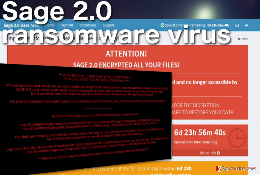 Screenshot of the Sage 2.0 ransomware virus