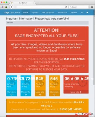 Sage virus payment page