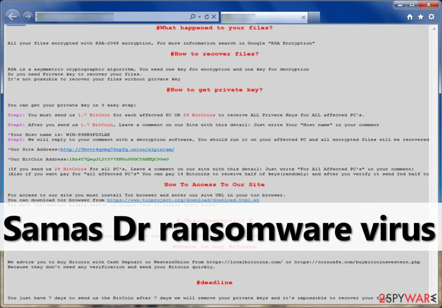 Ransom note by Samas DR ransomware