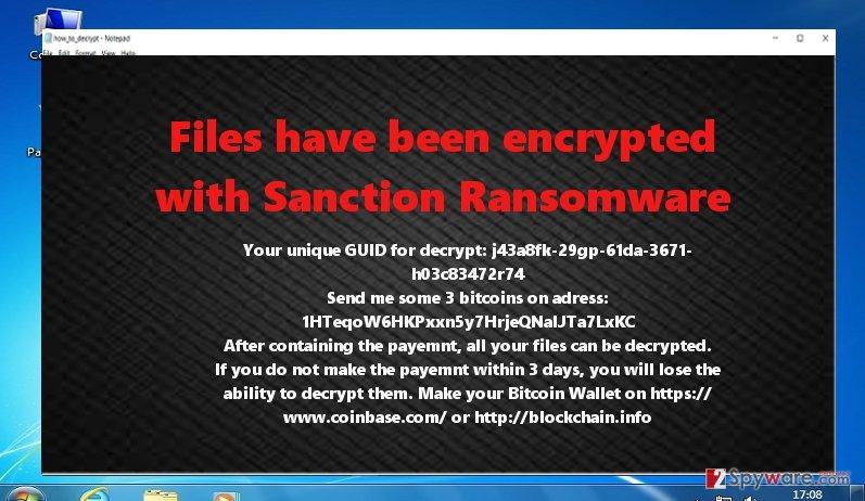 The ransom note of Sanction virus