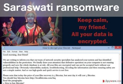 An image of the Saraswati virus ransom note and desktop picture