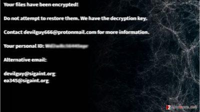 Example of Satan666 file-encrypting malware