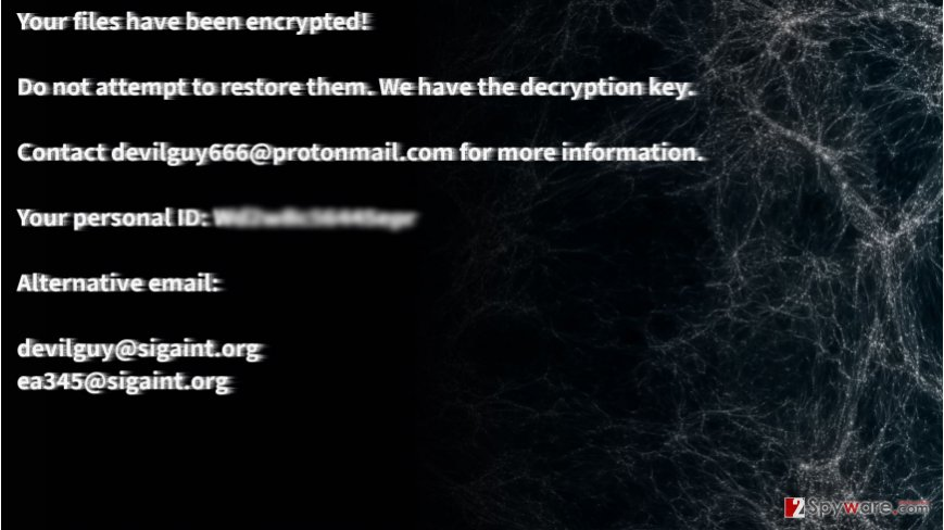 Example of Satan666 file-encrypting malware