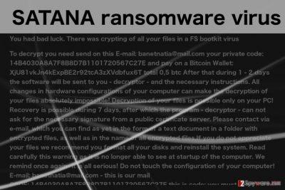 An image of the SATANA virus ransom note