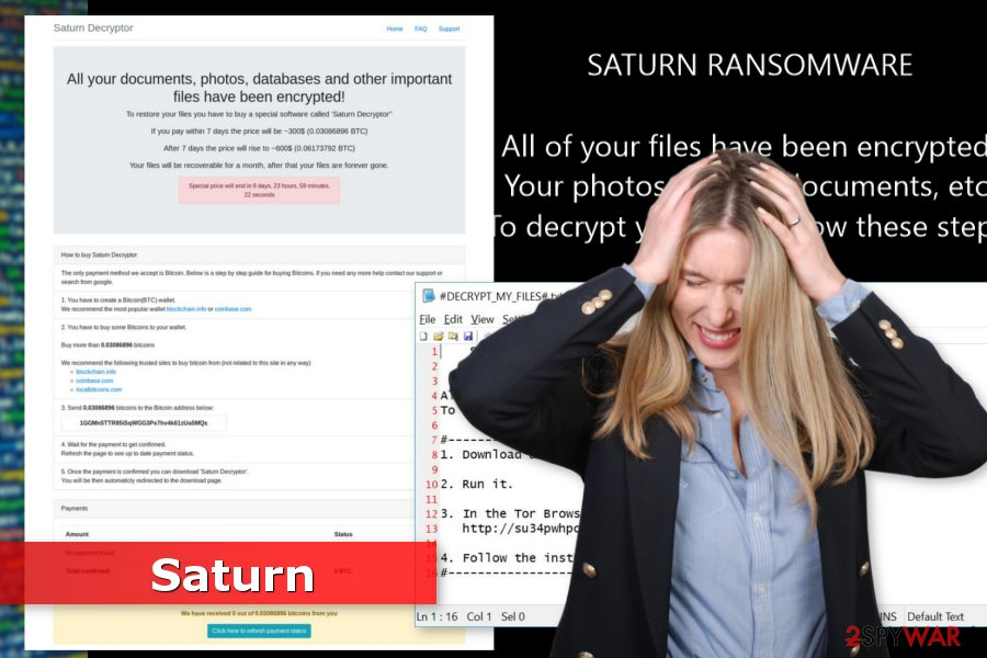 The picture of Saturn ransomware virus