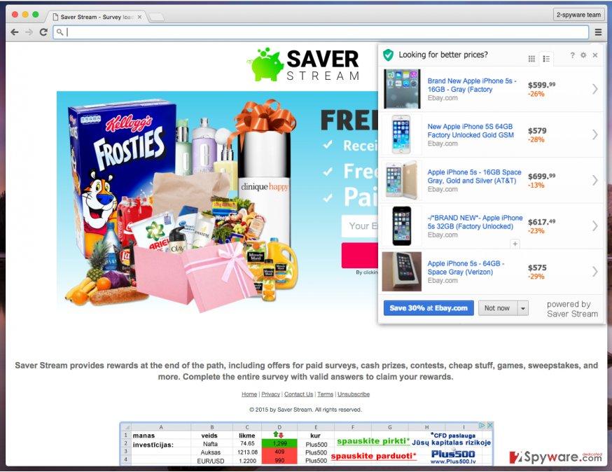 Saver Stream hijacks computer and displays annoying Saver Stream ads