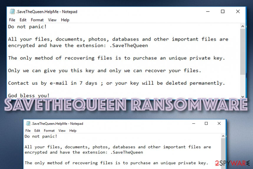 SaveTheQueen ransomware infection